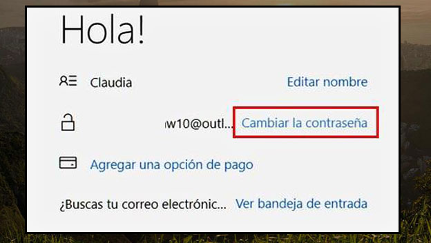 cambiar contrasela del correo electronico hotmail outlook